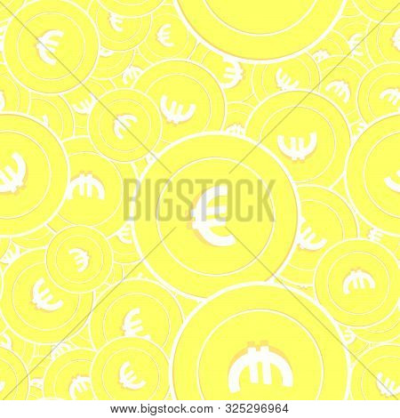 European Union Euro Gold Coins Seamless Pattern. Uncommon Scattered Yellow Eur Coins. Success Concep
