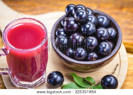 Jabuticaba Juice, Fruit Also Known As Jaboticaba. Natural And Organic Juice, Extracted Directly From