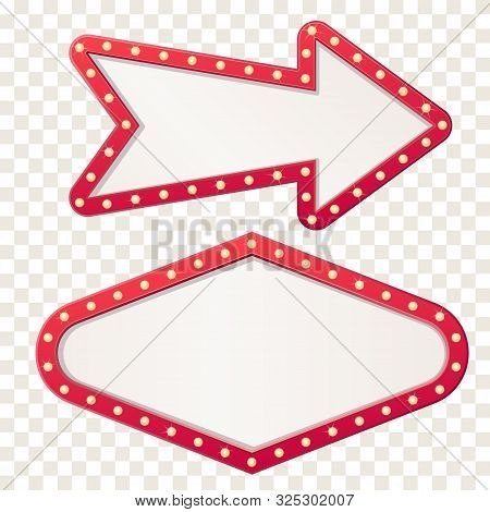 Arrow Marquee Light Board Sign. Retro Frame Arrows With Bulb Lamps.vector