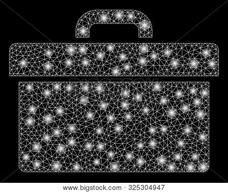 Glowing Mesh Toolbox With Sparkle Effect. Abstract Illuminated Model Of Toolbox Icon. Shiny Wire Car