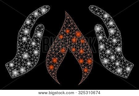 Glossy Mesh Warm Up Hands With Glitter Effect. Abstract Illuminated Model Of Warm Up Hands Icon. Shi