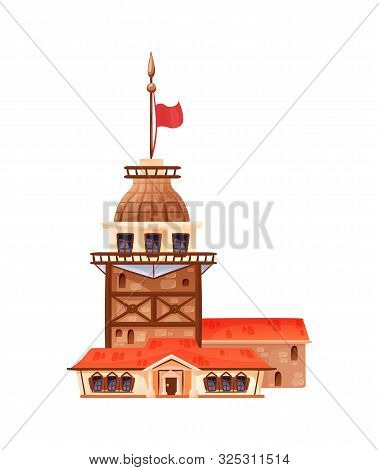 Famous Landmark Galata Tower In Istanbul Vector