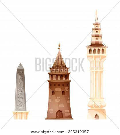 Besiezit Tower, Maidens Tower, Egyptian Obelisk In Istanbul.
