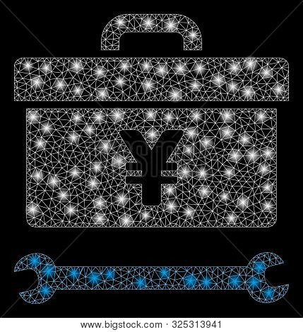Glowing Mesh Yen Toolbox With Sparkle Effect. Abstract Illuminated Model Of Yen Toolbox Icon. Shiny