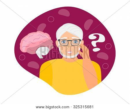 poster of Alzheimer old man, neurology health care, Parkinson or dementia metaphor are shown.