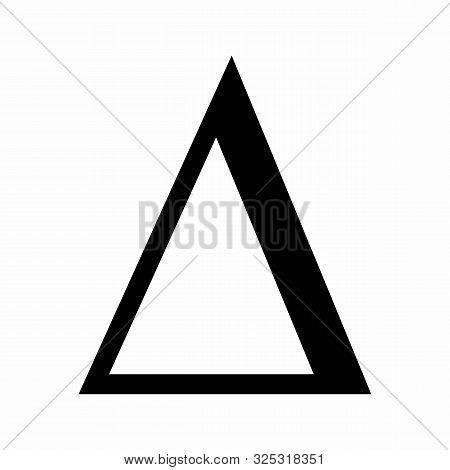 Uppercase Delta Icon Illustration. Black Letter On White Background.