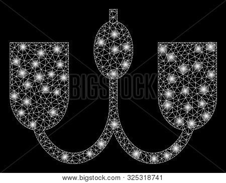 Glossy Mesh Wall Fixture With Glow Effect. Abstract Illuminated Model Of Wall Fixture Icon. Shiny Wi