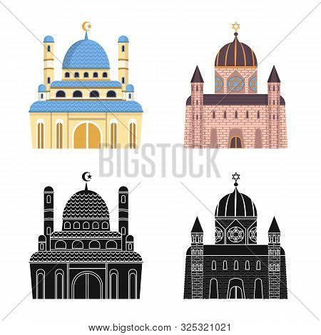Vector Design Of Cult And Temple Logo. Set Of Cult And Parish Stock Vector Illustration.