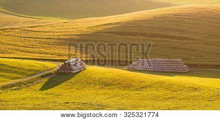 Haystacks In The Fields In Turiec Region, Northern Slovakia.