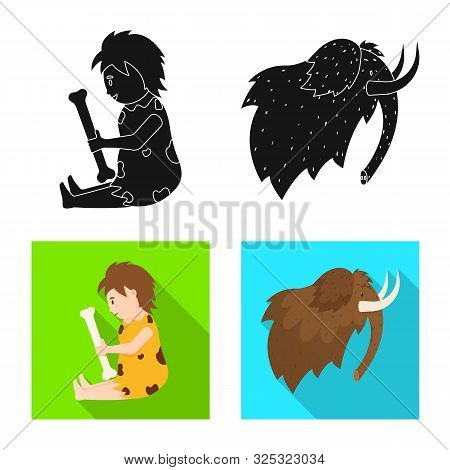 Vector Design Of Evolution And Neolithic Logo. Set Of Evolution And Primeval Vector Icon For Stock.