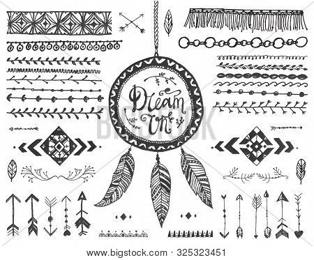 Vector Decor Set, Collection Of Hand Drawn Doodle Boho Style Dividers, Borders, Arrows, Design Eleme