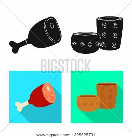 Vector Design Of Evolution And Neolithic Symbol. Collection Of Evolution And Primeval Stock Vector I
