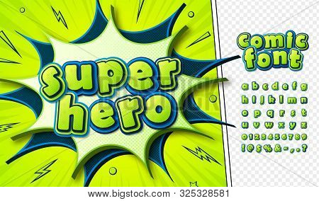 3d Letters In Pop Art Style. Multilayer Blue-green Alphabet For Comics Book Page, Decoration Of Chil