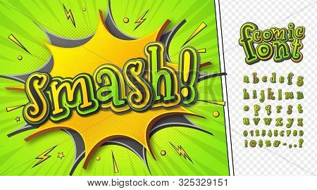 3d Cartoon Comic Font. Kid Alphabet In Style Of Pop Art. Multilayer Funny Yellow-green Letters On Co