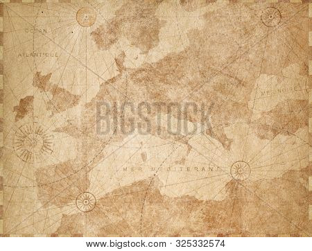 Vintage paper textured Europe map retro background. Based on image furnished from NASA.