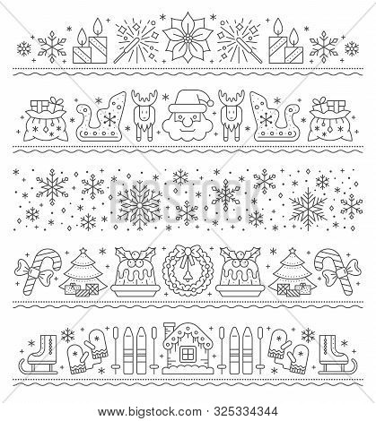 Christmas, New Year Simple Line Border Set. Xmas Outline String Pattern. Winter Holiday Stripe Desig