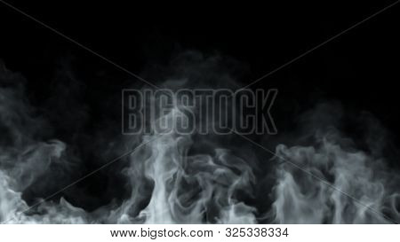 White Steam Spins And Rises From Below. White Line Smoke Rises From A Large Pot, Which Is Located Be
