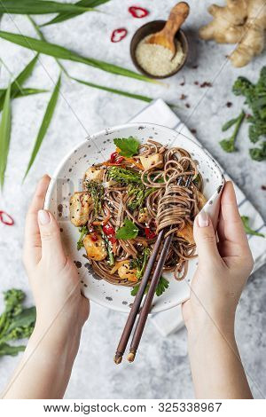 Japanese Buckwheat Noodles Yakisoba With Chicken And Vegetables