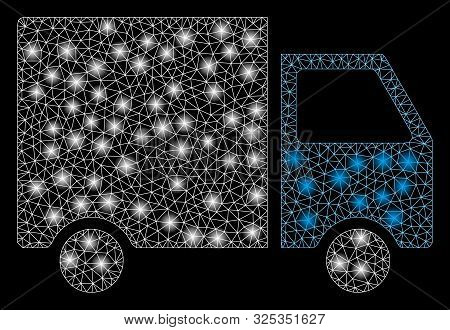 Glowing Mesh Shipment Van With Glitter Effect. Abstract Illuminated Model Of Shipment Van Icon. Shin