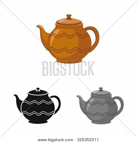 Vector Illustration Of Teapot And Clean Icon. Web Element Of Teapot And Ceramic Vector Icon For Stoc