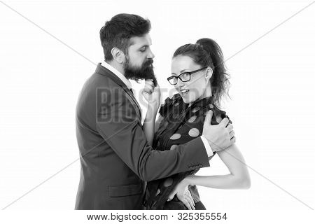 Knowing His Dirty Secrets. She Knows How Achieve Success. Colleagues Man With Beard And Pretty Woman