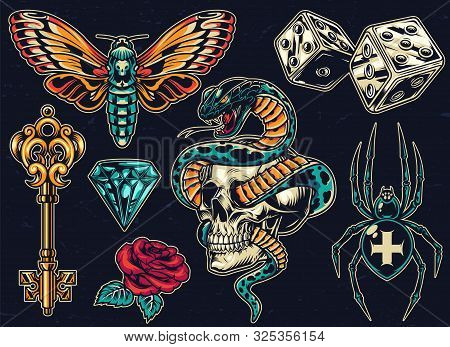 Vintage Colorful Tattoos Set With Dice Antique Golden Key Beautiful Rose Butterfly Diamond Scary Cro