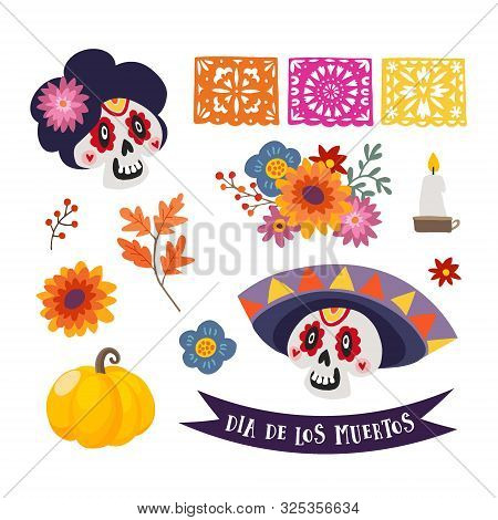 Dia De Los Muertos Isolated Vector Graphic Objects..mexican Day Of The Dead. Ornamental Skull With S