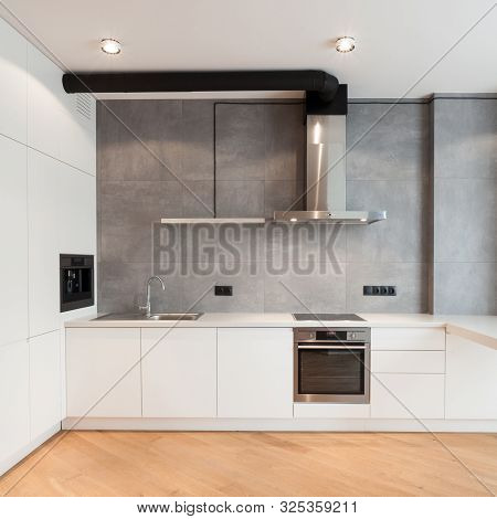 Apartment With Contemporary Interior. Kitchen In Loft Style, Built In Household Appliance, Electric