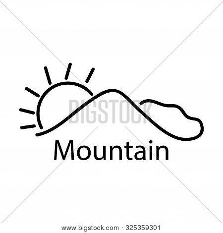 Mountain Line Stock Icon, Line Mountain, Flat Design