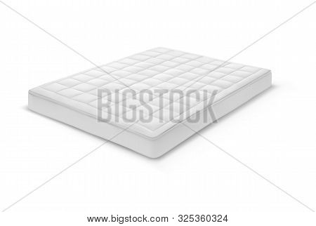 3d Double White Mattress Isolated. Realistic Orthopedic Sleeping Bed Item. Comfortable Cotton Access