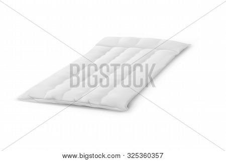 Thin 3d Mattress Made Of Cotton. White Bed Cover For Sleep. Realistic Orthopedic Object For Sleeping