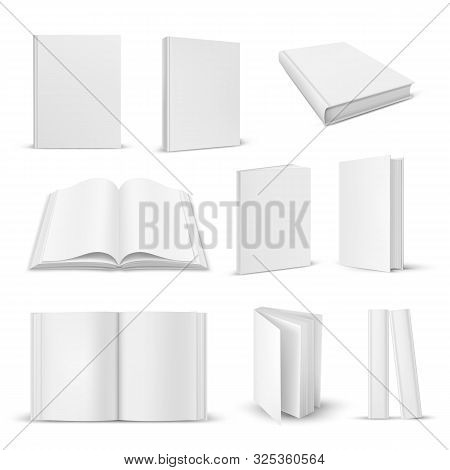 Set Of Isolated Opened And Closed Realistic Books. 3d Blank Paper Magazine Closeup Or Open, Close Do