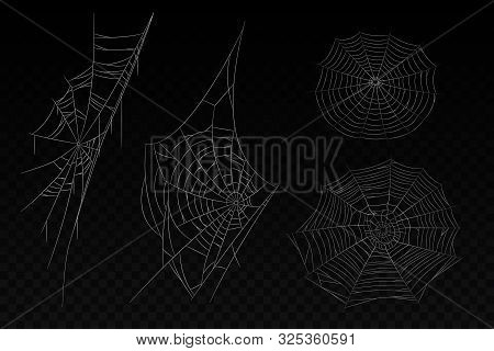 Set Of Isolated Spider Web. Halloween Background With Corner Cobweb. White Web With Lines. Creepy Sp