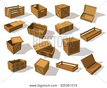 Wooden Packs Or Wood Boxes For Packaging. Set Of Isolated Mockup Or Closeup Of Lumber Cargo Square C