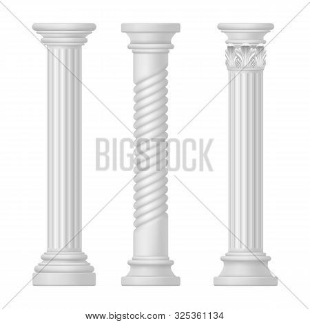 Set of isolated greek and roman, egypt columns. Doric and corinthian, tuscan or romanesque column. Ancient greece and rome pillar. Antique classic historical monument for temple. Old mediterranean art poster