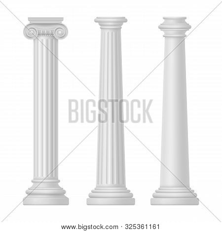 Ionic and Tuscan, greek and egypt, rome columns isolated. Rome and Greece, ancient pillar for temple building. Set of antique or vintage architecture for Athens. Classic architecture and history theme poster