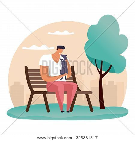 Simple Cartoon Man At Park Playing With His Pet. Guy At Bench With His Dog. Flat Illustration Of Peo