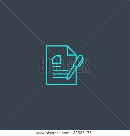 Lease Contract Concept Blue Line Icon. Simple Thin Element On Dark Background. Lease Contract Concep