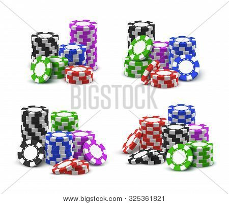 Casino Poker Chips Stack, Vector Realistic 3d Set. Online Casino And Wheel Of Fortune Roulette Poker