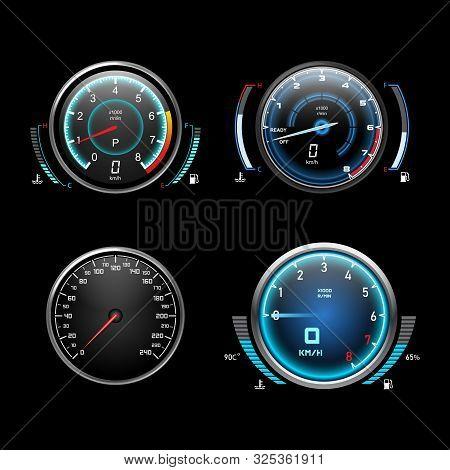 Car Dashboard Speedometer, Tachometer Gauge, Fuel And Engine Temperature Digital Led Light Indicator