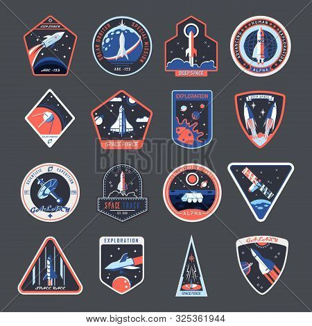 Space Patches, Galaxy Exploration And Astronaut Mission Vector Badges And Spaceship Emblems. Vintage