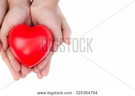 Adult And Child Kid Hand Holding Red Heart,concept Of Love And Health Care