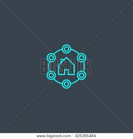 Amenities Concept Blue Line Icon. Simple Thin Element On Dark Background. Amenities Concept Outline