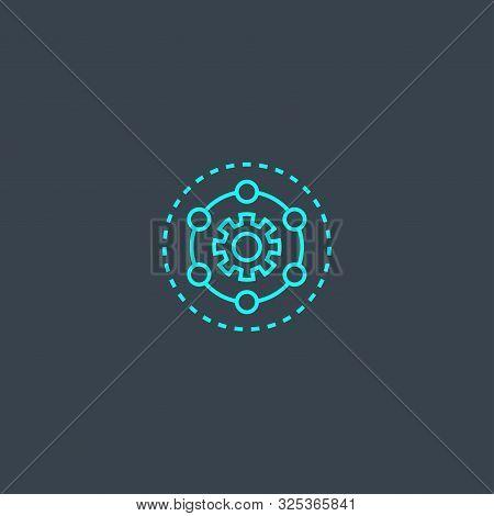 Framework Concept Blue Line Icon. Simple Thin Element On Dark Background. Framework Concept Outline