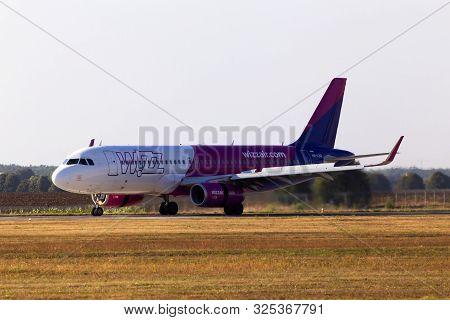 Borispol, Ukraine - September 10, 2019: Ha-lsa Wizz Air Airbus A320-200 Aircraft Landing On The Runw