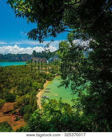 Beautiful View Of Railay West Beach And East Railay Bay Beach From The  Railay Point. Tropical Beach