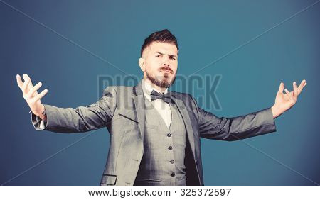 Elegant And Charming. Bearded Man In Formal Suit. Esthete. Stylish Art Director. Business In Modern