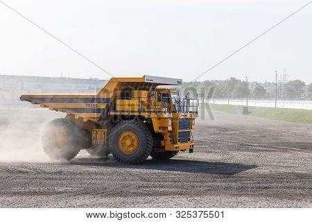 Belarus, Zhodzina, 10 September 2019: Belaz During Test Drive. Belaz Is A Belarusian Manufacturer Of