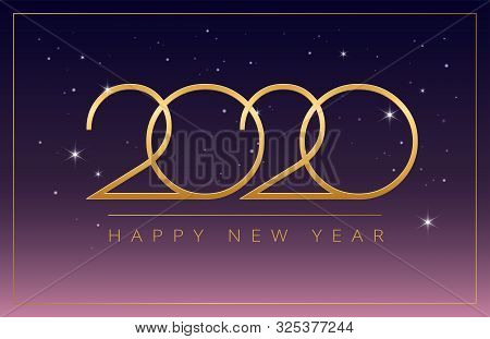 Magical New Year 2020 Stars Party Celebration - Dreamy Greeting Card Design - Golden 2020 And Happy