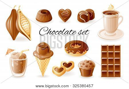 Chocolate, Coffee Cocoa Icon Set. Chocolate Bar, Candy, Donut, Muffin, Cacao Bean, Cookie. Realistic
